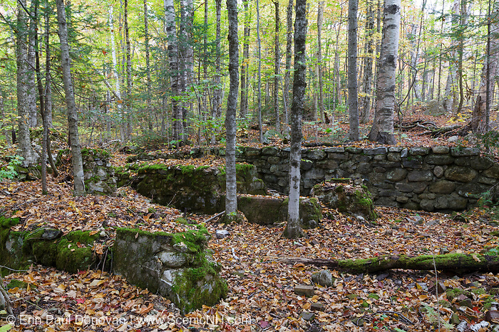 Remnants of the abandoned Tripoli Mill in Livermore, New Hampshire during the autumn months. Owned by Charles B. Henry, son of timber baron J.E. Henry, this mill dredged East Pond for diatomaceous earth (also called Tripoli) during the early 1900s. The old Woodstock & Thornton Gore Railroad (1909-1914, logging railroad) traveled pass this mill.