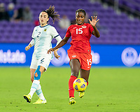 ORLANDO, FL - FEBRUARY 21: Nichelle Prince #15 of Canada dribbles during a game between Canada and Argentina at Exploria Stadium on February 21, 2021 in Orlando, Florida.