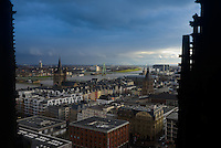 Cologne panorama with Rhine river from Cologne Cathedral, Germany