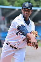 Asheville Tourists pitcher Juan Pena (31) before a game against the Kannapolis Intimidators at McCormick Field on May 22, 2016 in Asheville, North Carolina. The Tourists defeated the Intimidators 8-4. (Tony Farlow/Four Seam Images)