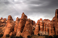 Eroded sandstone fins rise out of the salt underground bed at Arches National Park, Utah