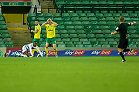 29th December 2020; Carrow Road, Norwich, Norfolk, England, English Football League Championship Football, Norwich versus Queens Park Rangers; Christoph Zimmermann of Norwich City reacts as the referee awards a penalty for a foul on Bright Osayi-Samuel of Queens Park Rangers