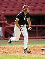 Freshman first baseman Ryan Ripken (48) of the South Carolina Gamecocks during an intrasquad game as part of the Garnet & Black World Series on Oct. 25, 2012, at Carolina Stadium in Columbia, South Carolina. These final weekend intrasquad games signal the end of fall practice. He is the son of Cal Ripken Jr. (Tom Priddy/Four Seam Images)