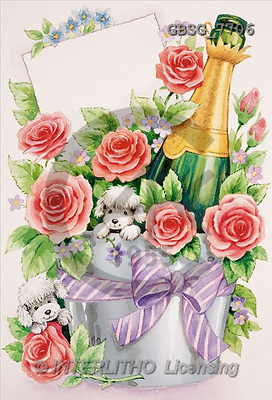 Ron, WEDDING, paintings, roses, champagne, dogs(GBSG7706,#W#) Hochzeit, boda, illustrations, pinturas ,everyday