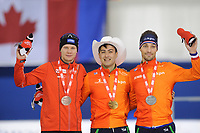 SPEEDSKATING: CALGARY: Olympic Oval, 02-12-2017, ISU World Cup, Podium 1000m Men Division A, Håvard Holmefjord Lorentzen (NOR), Kai Verbij (NED), Kjeld Nuis (NED), ©photo Martin de Jong