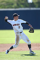 Hutton Moyer #2 of the Pepperdine Waves makes a throw during a game against the Tulane Green Wave at Eddy D. Field Stadium on March 13, 2015 in Malibu, California. Tulane defeated Pepperdine, 9-3. (Larry Goren/Four Seam Images)