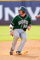 Kyle Murphy #10 of the Manhattan Jaspers puts on the brakes as he rounds second base during the game against the High Point Panthers at Willard Stadium on March 9, 2012 in High Point, North Carolina.  The Panthers defeated the Jaspers 11-6.  (Brian Westerholt/Four Seam Images)