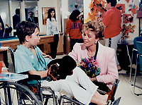 1989 FILE PHOTO - ARCHIVES -<br /> <br /> Queen Noor, wife of Jordan's King Hussein, chats with Scott Harkes, 10, during a tour of the Hospital for Sick Children yesterday. The American-born queen invited Scott to visit Jordan when he was well.