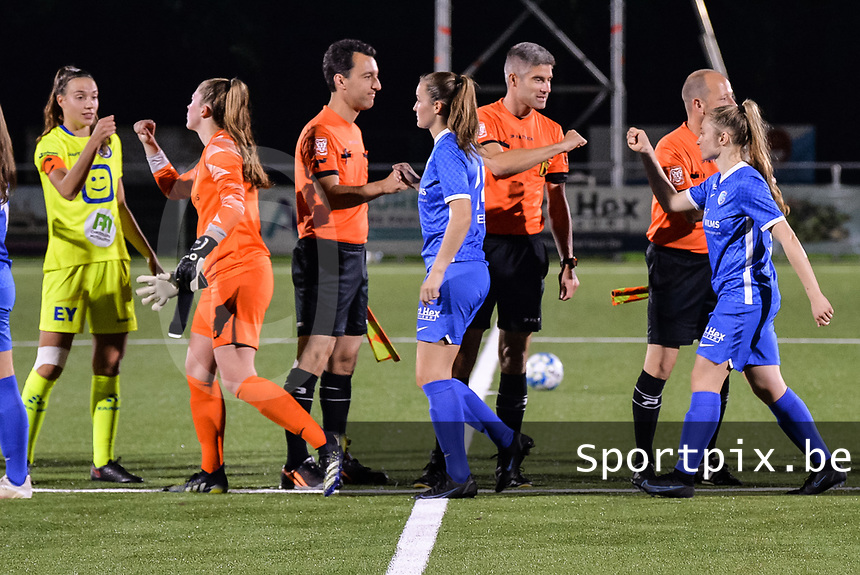 Hand shake before the game pictured during a female soccer game between  Racing Genk Ladies and AA Gent Ladies ,  on the 6 th  matchday of the 2021-2022 season of the Belgian Scooore Womens Super League , friday 8 october 2021  in Genk , Belgium . PHOTO SPORTPIX | JILL DELSAUX