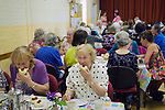 Nether Stowey Female Friendly Society ( The Womens Walk ) Club Day.  Cream tea in the Village Hall. - £5.00. Nether Stowey Somerset UK 2014.