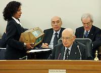Il Presidente della Repubblica Giorgio Napolitano.CSM - Consiglio Superiore della Magistratura (Plenum) .Nomina del Vice Presidente.Roma, 2 Agosto 2010.Photo Serena Cremaschi Insidefoto