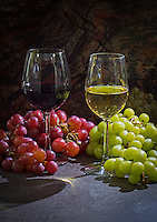 Red and White Wine and Grapes
