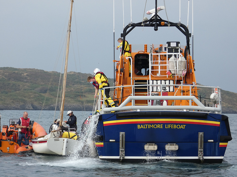 Baltimore all-weather lifeboat pumps out the Y boat  Photo: RNLI/Micheal Cottrell