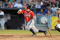 Rome Braves second baseman Ross Heffley #9 swings at a pitch during game two of the South Atlantic League, Southern Division playoffs against the Asheville Tourists at McCormick Field on September 7, 2012 in Asheville, North Carolina . The Tourists defeated the Braves 6-2. (Tony Farlow/Four Seam Images).
