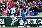 Dakonam Djene of Getafe CF (R) fights for the ball with Enrique Garcia of SD Eibar (L) during the La Liga 2017-18 match between Getafe CF and SD Eibar at Coliseum Alfonso Perez Stadium on 09 December 2017 in Getafe, Spain. Photo by Diego Souto / Power Sport Images