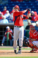 Washington Nationals first baseman Micah Owings #46 during a Spring Training game against the Philadelphia Phillies at Bright House Field on March 6, 2013 in Clearwater, Florida.  Philadelphia defeated Washington 6-3.  (Mike Janes/Four Seam Images)