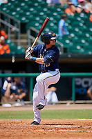 Montgomery Biscuits designated hitter Michael Brosseau (16) at bat during a game against the Biloxi Shuckers on May 8, 2018 at Montgomery Riverwalk Stadium in Montgomery, Alabama.  Montgomery defeated Biloxi 10-5.  (Mike Janes/Four Seam Images)