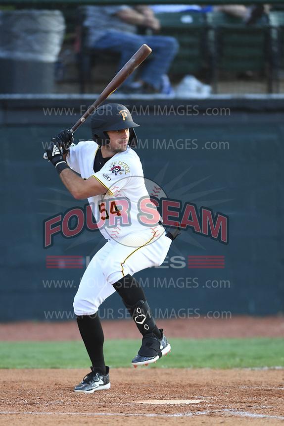Bristol Pirates Marshall Gilbert (54) bats against the Pulaski Yankees at Boyce Cox Field on July 8, 2019 in Bristol, Virginia. The Yankees defeated the Pirates 5-0. (Tracy Proffitt/Four Seam Images)