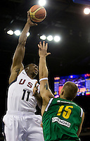 US forward (11) Dwight Howard shoots over Lithuania center (15) Robertas Javtokas while playing at the Cotai Arena inside the Venetian Macau Resort and Hotel.  The US defeated Lithuania, 120-84.