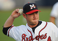 9 April 2008: Outfielder Matt Young (6) of the Mississippi Braves, Class AA affiliate of the Atlanta Braves, in the season's home opener against the Mobile BayBears at Trustmark Park in Pearl, Miss. Photo by:  Tom Priddy/Four Seam Images