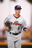 Fort Myers Miracle right fielder Alex Swim (8) jogs to the dugout during a game against the Bradenton Marauders on April 9, 2016 at McKechnie Field in Bradenton, Florida.  Fort Myers defeated Bradenton 5-1.  (Mike Janes/Four Seam Images)
