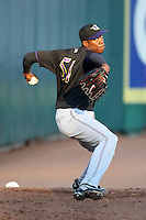May 3, 2010:  Starting pitcher Aroldis Chapman (51) of the Louisville Bats warms up in the bullpen prior to a game vs. the Buffalo Bisons at Coca-Cola Field in Buffalo, NY.   Louisville defeated Buffalo by the score of 20-7, Chapman got the win on the mound.  Photo By Mike Janes/Four Seam Images