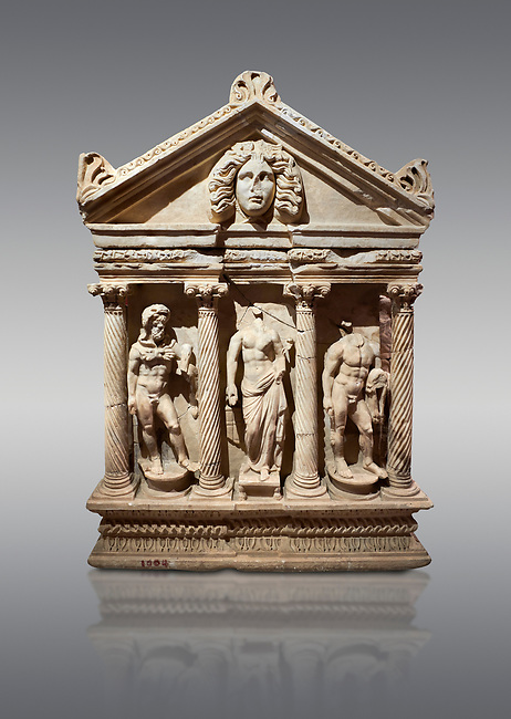 """Roman Herakles (Hercules)  relief sculptured sarcophagus, 2nd century AD, Perge, inv 928. it is from the group of tombs classified as. """"Columned Sarcophagi of Asia Minor"""".  Antalya Archaeology Museum, Turkey. Against a grey background."""