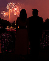 Salute to America 2020<br /> <br /> President Donald J. Trump and First Lady Melania Trump watch fireworks from the Truman Balcony of the White House Saturday, July 4, 2020, during the Salute to America event on the South Lawn. (Official White House Photo by Andrea Hanks)