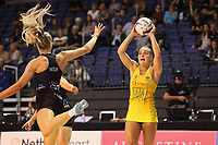 Liz Watson of Australian Diamonds during the Constellation Cup international netball series match between New Zealand Silver Ferns and Australian Diamonds at Christchurch Arena in Christchurch, New Zealand on Tuesday, 2 March 2021. Photo: Martin Hunter / lintottphoto.co.nz