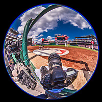16 August 2017: Ed Wolfstein's camera lies ready at the inside 3rd camera well position during a game between the Washington Nationals and the Los Angeles Angels at Nationals Park in Washington, DC. The Angels defeated the Nationals 3-2 to split their 2-game series. Mandatory Credit: Ed Wolfstein Photo *** RAW (NEF) Image File Available ***