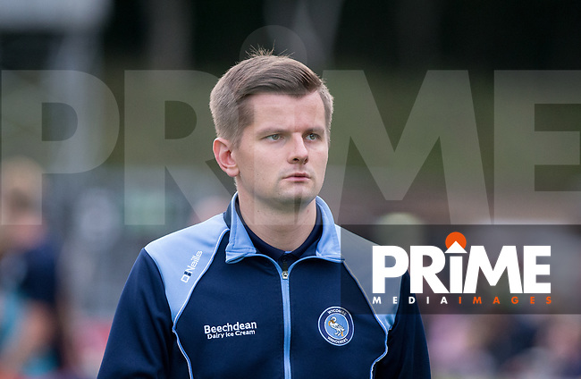 Wycombe media Tom Jarvis during the Carabao Cup 2nd round match between Wycombe Wanderers and Forest Green Rovers at Adams Park, High Wycombe, England on 28 August 2018. Photo by Kevin Prescod.