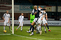 29th December 2020; Dens Park, Dundee, Scotland; Scottish Championship Football, Dundee FC versus Alloa Athletic; Liam Fontaine of Dundee scores for 2-1 in the 53rd minute