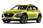 Stock pictures of low aggressive front three quarter view of a 2018 Hyundai Kona Luxury Launch 5 Door SUV