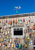 Lobster shack with colorful buoys, Jonesport, Maine, USA