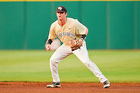 Wake Forest Demon Deacons second baseman Conor Keniry #14. on defense against the Miami Hurricanes at NewBridge Bank Park on May 25, 2012 in Winston-Salem, North Carolina.  The Hurricanes defeated the Demon Deacons 6-3.  (Brian Westerholt/Four Seam Images)