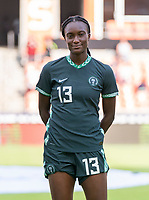 HOUSTON, TX - JUNE 13: Ifeoma Onumonu #13 of Nigeria stands before introductions during a game between Nigeria and Portugal at BBVA Stadium on June 13, 2021 in Houston, Texas.