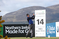 Thursday 28 May 2015; Luke Donald, England, tees up at the 14th<br /> <br /> Dubai Duty Free Irish Open Golf Championship 2015, Round 1 County Down Golf Club, Co. Down. Picture credit: John Dickson / SPORTSFILE
