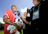 USA's DaMarcus Beasley gives an interview after training in Hamburg, Germany, for the 2006 World Cup, June, 6, 2006.