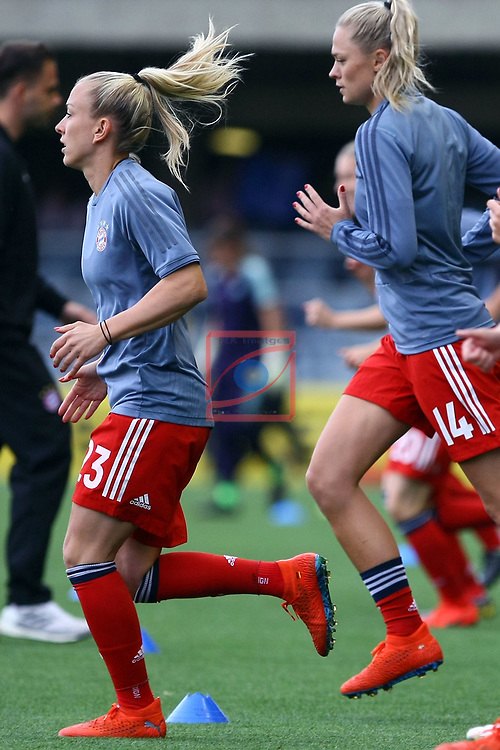 UEFA Women's Champions League 2018/2019.<br /> Semi Finals<br /> FC Barcelona vs FC Bayern Munchen: 1-0.<br /> Mandy Islacker & Fridolina Damnjanovic.