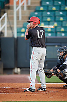 Chattanooga Lookouts designated hitter Travis Harrison (17) at bat in front of catcher Oscar Hernandez (28) during during a game against the Jackson Generals on April 27, 2017 at The Ballpark at Jackson in Jackson, Tennessee.  Chattanooga defeated Jackson 5-4.  (Mike Janes/Four Seam Images)