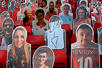 A selection of the cardboard cutouts with one  showing the word, liar, with an arrow which is a reference to previous owner, Roland Duchatelet during Charlton Athletic vs Reading, Sky Bet EFL Championship Football at The Valley on 11th July 2020