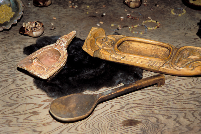 Wooden cooking utensils of carved wooden bowls and a laddle spoon that would have been used by the Suquamish during Potlatch ceremonies. Washington State