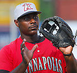 4 June 2007: Chris Carter of the Kannapolis Intimidators, Class A South Atlantic League affiliate of the Chicago White Sox, in a game against the Greenville Drive at West End Field in Greenville, S.C. Photo by:  Tom Priddy/Four Seam Images Photo by:  Tom Priddy/Four Seam Images