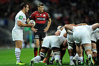 20131018 Copyright onEdition 2013©<br /> Free for editorial use image, please credit: onEdition<br /> <br /> Richard Wigglesworth of Saracens looks on at a scrum as Jean-Marc Doussain of Stade Toulousain prepares to put the ball in during the Heineken Cup match between Saracens and Stade Toulousain at Wembley Stadium on Friday 18th October 2013 (Photo by Rob Munro)<br /> <br /> For press contacts contact: Sam Feasey at brandRapport on M: +44 (0)7717 757114 E: SFeasey@brand-rapport.com<br /> <br /> If you require a higher resolution image or you have any other onEdition photographic enquiries, please contact onEdition on 0845 900 2 900 or email info@onEdition.com<br /> This image is copyright onEdition 2013©.<br /> This image has been supplied by onEdition and must be credited onEdition. The author is asserting his full Moral rights in relation to the publication of this image. Rights for onward transmission of any image or file is not granted or implied. Changing or deleting Copyright information is illegal as specified in the Copyright, Design and Patents Act 1988. If you are in any way unsure of your right to publish this image please contact onEdition on 0845 900 2 900 or email info@onEdition.com