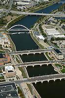 aerial photograph Des Moines river, Des Moines, Iowa