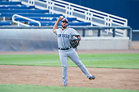 AZL Padres 2 third baseman Luis Roman (28) makes a throw to first base against the AZL Brewers on September 2, 2017 at Maryvale Baseball Park in Phoenix, Arizona. AZL Brewers defeated the AZL Padres 2 2-0. (Zachary Lucy/Four Seam Images)