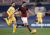 Calcio, Serie A: Roma vs Frosinone. Roma, stadio Olimpico, 30 gennaio 2016.<br /> Roma's Miralem Pjanic, right, is chased by Frosinone's Paolo Sammarco during the Italian Serie A football match between Roma and Frosinone at Rome's Olympic stadium, 30 January 2016.<br /> UPDATE IMAGES PRESS/Isabella Bonotto
