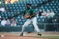 Greensboro Grasshoppers starting pitcher Tahnaj Thomas (17) in action against the Winston-Salem Dash at Truist Stadium on June 17, 2021 in Winston-Salem, North Carolina. (Brian Westerholt/Four Seam Images)