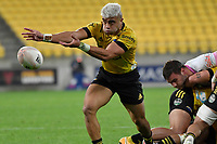 Jonathan Taumateine of the Hurricanes passes the ball during the Super Rugby - Hurricanes v Rebels at Sky Stadium, Wellington, New Zealand on Friday 21 May 2021.<br /> Photo by Masanori Udagawa. <br /> www.photowellington.photoshelter.com