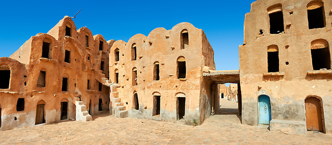 Ksar Ouled Soltane, a traditional Berber and Arab fortified adobe vaulted granary cellars, or ghorfas, situated on the edge of the northern Sahara in the Tataouine district. Tunisia, Africa. Used as a film set Star Wars: The Phantom Menace as the slave quarters of Mos Espa where the character Anakin Skywalker lived as a boy.